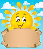Happy sun holding parchment theme 1