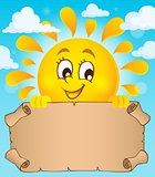 Happy sun holding parchment theme 1