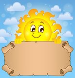 Happy sun holding parchment theme 2