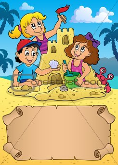 Small parchment and kids by sand castle