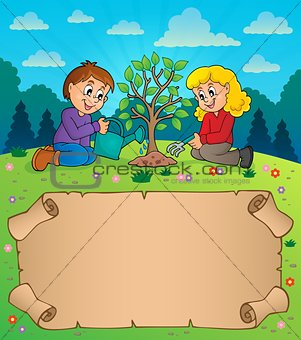 Small parchment and kids planting tree