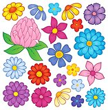 Stylized flower heads theme set 2