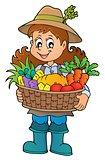 Woman farmer holding harvest theme 1