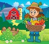 Woman farmer holding harvest theme 2