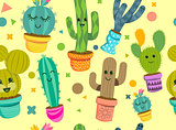 Cheerful Cactus Plants Seamless Pattern