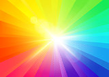 Rainbow Burst Rays Background