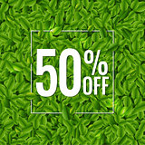 Sale Poster With Green Leaves Background