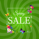 Spring Sale Poster With Sunburst