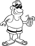 Cartoon Man Wearing a Swimsuit and Holding a Drink