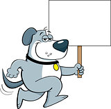 Cartoon Dog Running and Holding a Sign