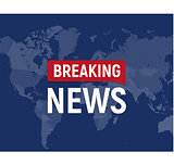 Breaking news modern concept. World news template on world map backgorund. Vector illustration.