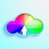 Cloud download icon of rainbow vector illustration