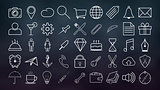 Set of outline icons Collection of high quality, white color for the design of websites and mobile applications.