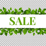 Sale Poster With Leaves And Transparent Background