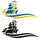 Sailing Ship Vector Graphic Illustration