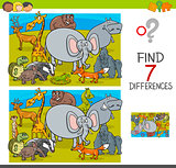 find differences game with wild animal characters