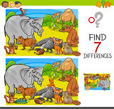find differences game with animal characters group