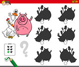shadows activity game with cute farm animals