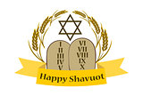 Shavuot Banner - Shavuot festive banner with the image of the Tablets of the Covenant, on an isolated background