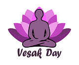 Illustration Of Vesak Day Or Buddha Purnima, silhouette of a meditating man against a violet lotus background