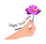Illustration Of Vesak Day Or Buddha Purnima, hand holds a lotus flower