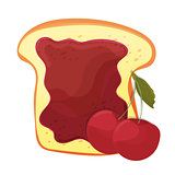 Cherry jam on toast with jelly in cartoon style. Healthy nutrition