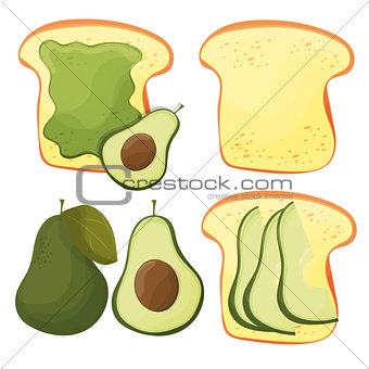 Avocado toast - vector set. Fresh toasted bread with avocado. Delicious sandwich