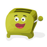 illustration of a green cartoon toaster on a white background