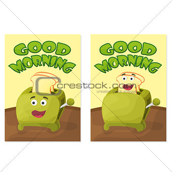 Toaster with bread slices. Good morning poster. Hand drawn vector