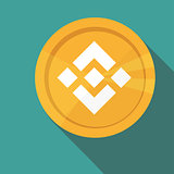 Flat design golden coin Binance Coin - BNB, digital cryptocurrency