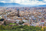 Cityscape aerial view of Malaga, Andalucia, Spain. The Cathedral