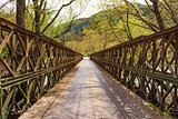 A metallic bridge across a mountain river.