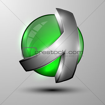 3d green sphere with metal lines