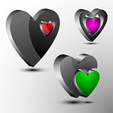 Set of 3d hearts futuristic logo