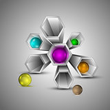 Metal 3d hexagons with multi colored spheres inside