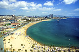 View of Salou Platja Llarga Beach in Spain from the last floor of a coast building