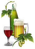 Beer mug, bottle, hops and a glass of wine