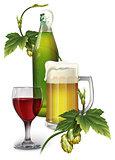 Beer mug, bottle, hops and a glass of wine