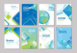 Set of blue cover annual report, brochure, design templates. Use