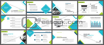 Blue and green element for slide infographic on background. Pres