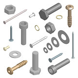 Set of fasteners in 3D, vector illustration.