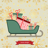 luxury seamless pattern with gold snowflakes and Santa sleigh with piles of presents. Vector illustration