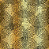 Vector monochrome seamless pattern, curved lines, black gold background. Abstract dynamical rippled surface, visual halftone 3D effect, illusion of movement, curvature. Design for tileable print