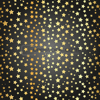 Abstract black modern seamless pattern with gold confetti stars. Vector illustration.Shiny background. Texture of gold foil. Golden seamless pattern
