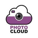Cloud camera logo. Photo video control icon