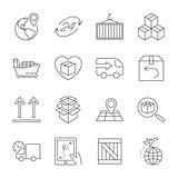 Logistics icons. Editable Stroke.