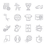 Soccer Icons set. Editable Stroke