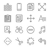 Vector illustration of apps icon set over linen texture. Universal icons for apps