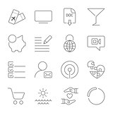 Simple different icons set. Universal icons to use for web and mobile. UI set of basic