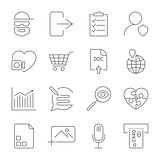 Universal set for web and mobile. Hacker, photo, note, atm and other. Icons set with editable stroke